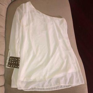 White Chiffon One Sleeve Mini Dress